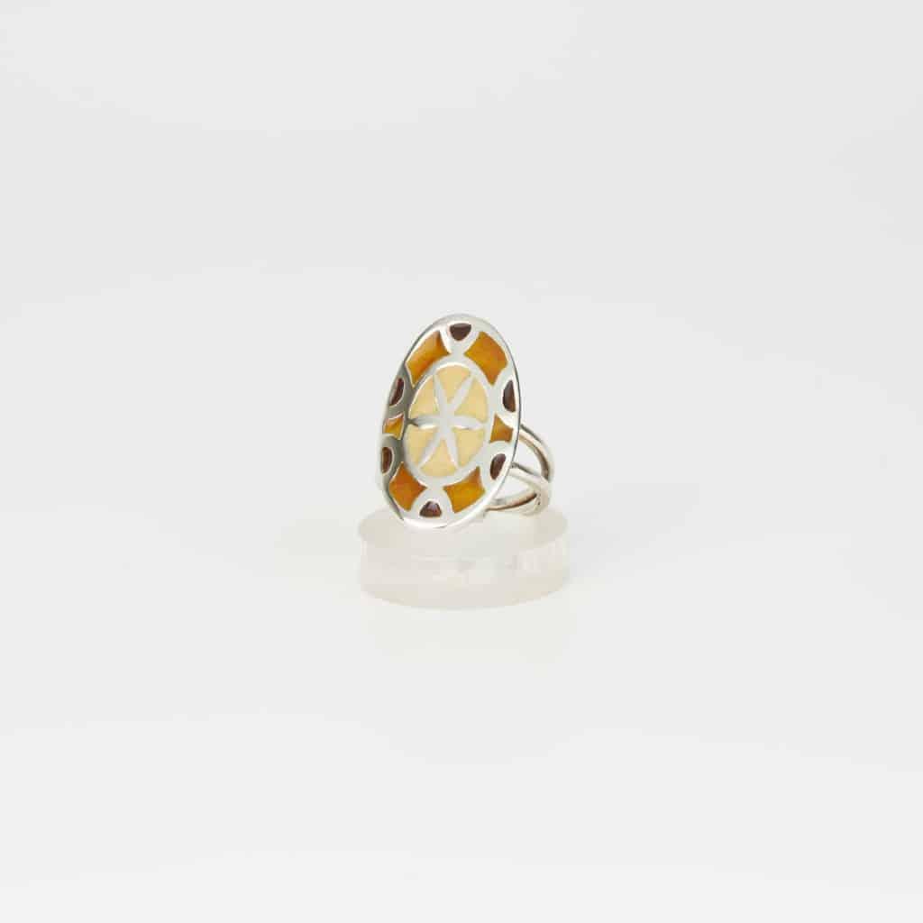 Anillo de diseño en plata y esmalte modelo Mandala castaños. Joyas Siliva - Joyas S I L I V A
