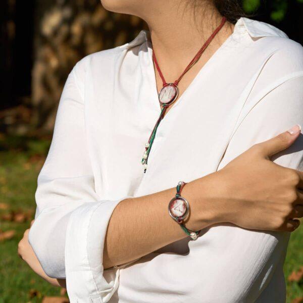 Conjunto diseño modelo ledicia, joyería personalizada plata y esmalte al fuego. Joyas Siliva.