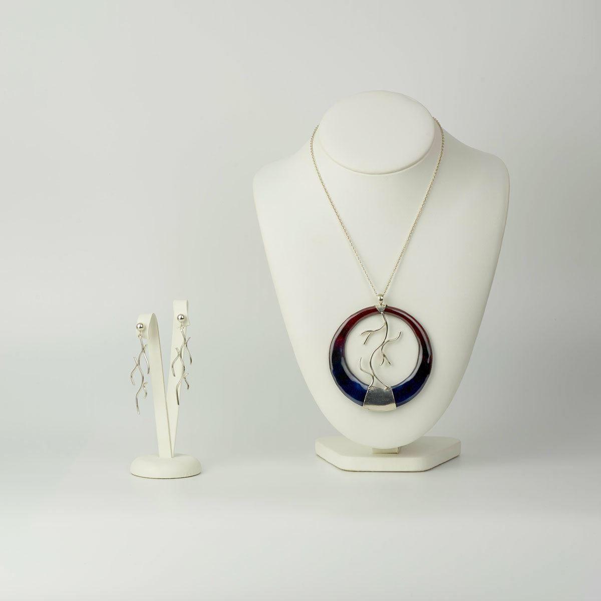 Conjunto diseño modelo Lareira, plata y esmalte al fuego, Joyas Siliva