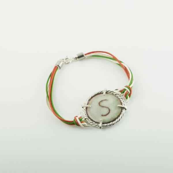 Pulsera personalizada de diseño en plata y esmalte al fuego. modelo Mariñeiro. Joyas Siliva.