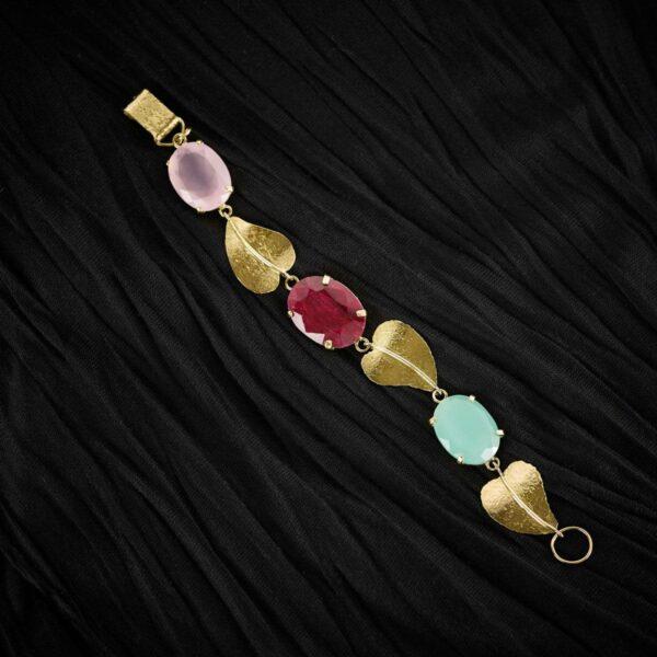 Pulsera de diseño modelo Orballo, joyería de oro y piedras. Joyas Siliva.