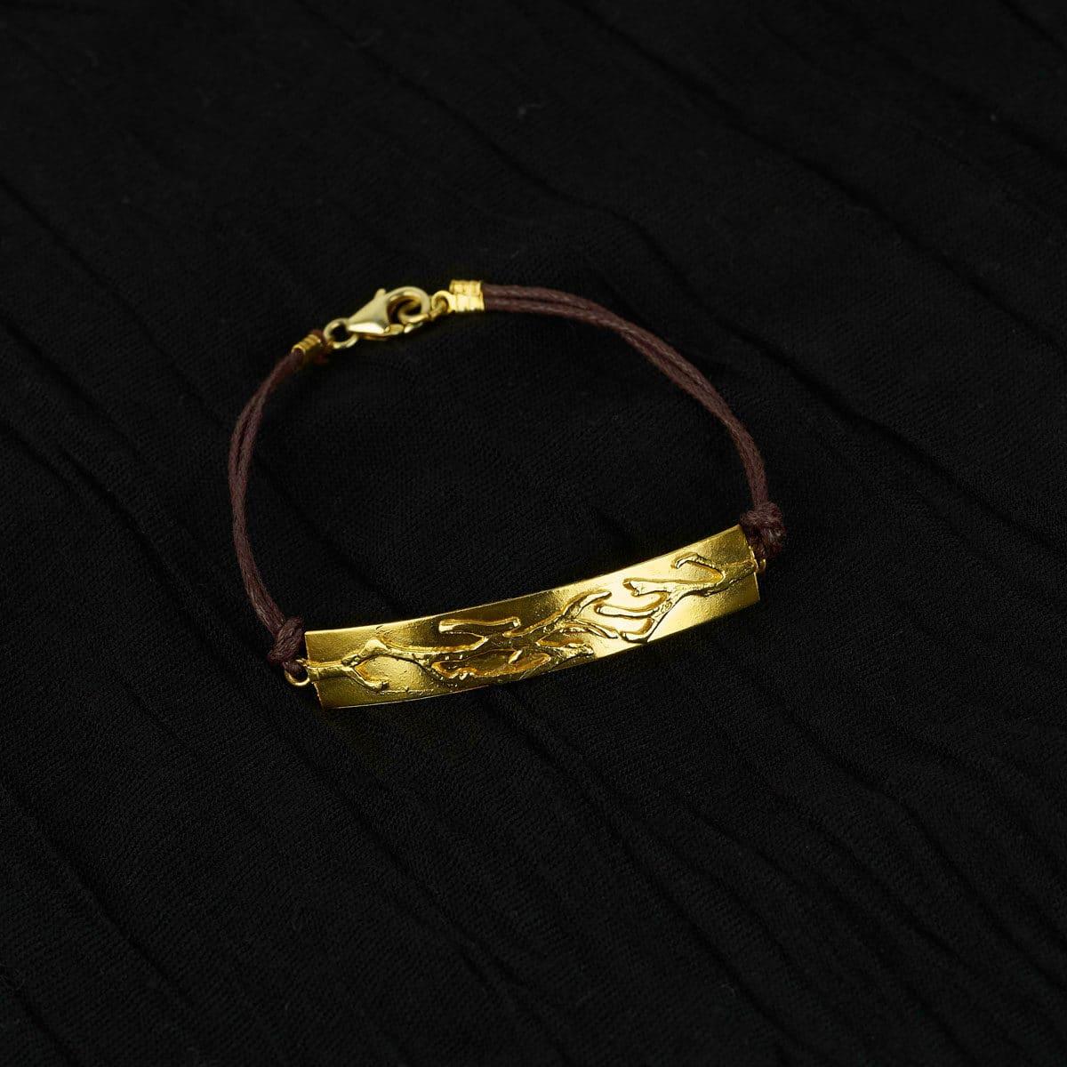 Pulsera de plata de diseño modelo Outono con baño de oro. Joyas Siliva.