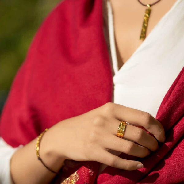 Conjunto de plata con baño de oro modelo Outono. Joyas Siliva.