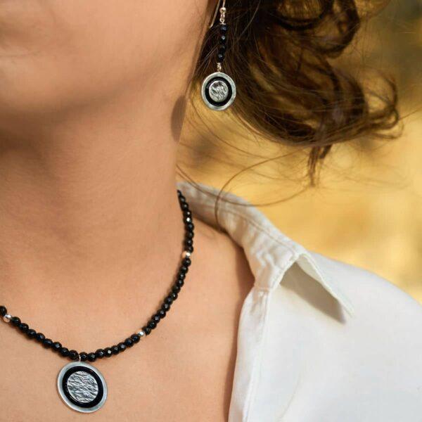 Conjunto de diseño modelo Lúa, joyería de diseño en plata con esmalte al fuego, Joyas Siliva