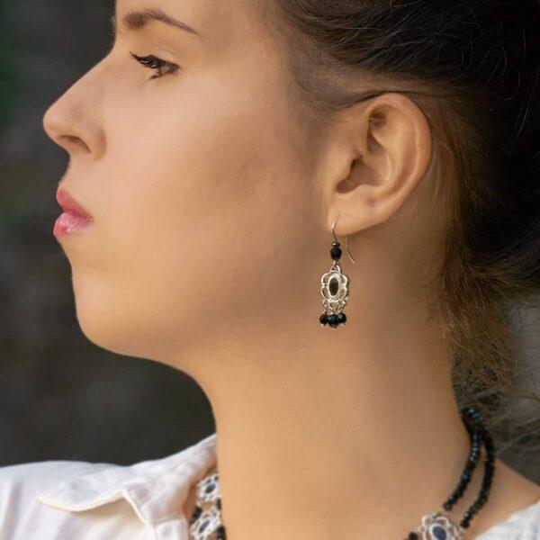 Pendientes de diseño modelo Raíña, joyería de diseño en plata. Joyas Siliva.