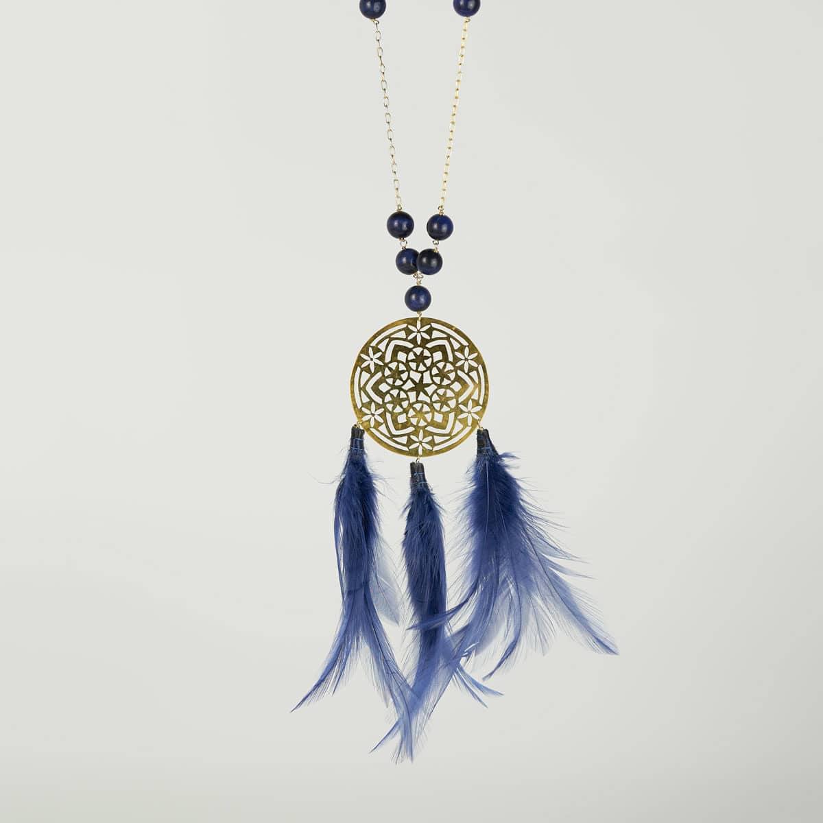Collar de diseño modelo Atrapasueños. diseño en plata con baño de oro. Joyas Siliva.