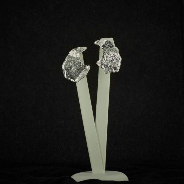 Pendientes de diseño en plata modelo Anzol, Joyas Siliva.