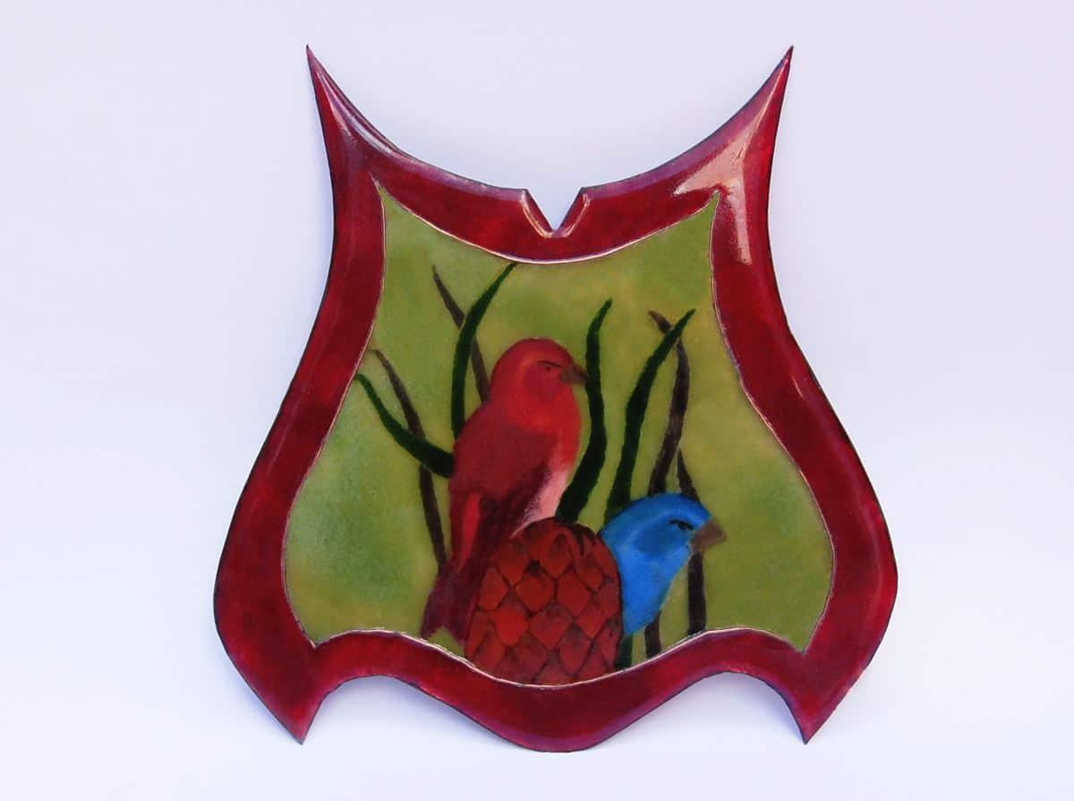 Esmalte al fuego, diseño para reloj de mesa. joyas Siliva.