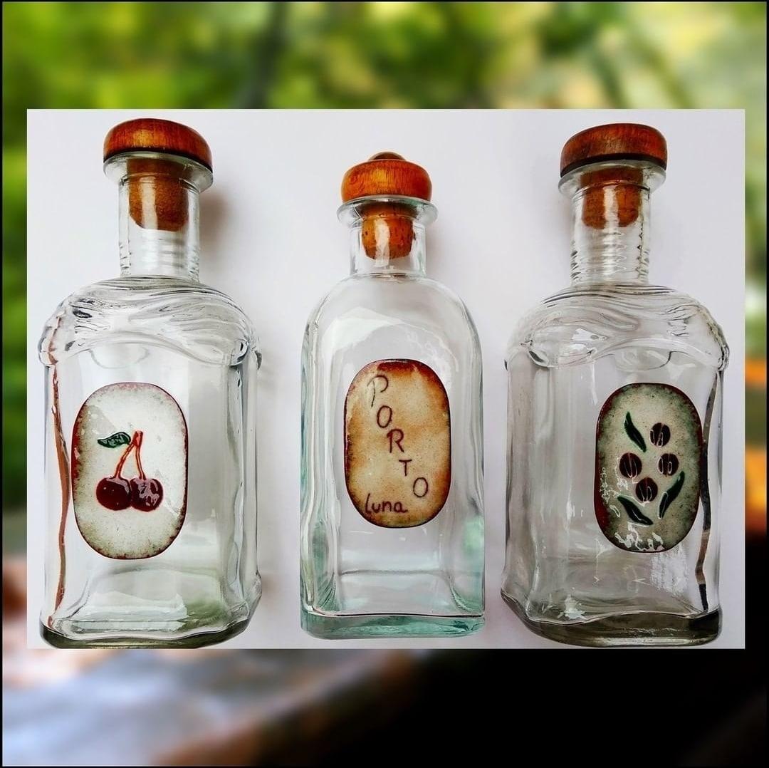 Botellas personalizadas con esmalte al fuego para licores