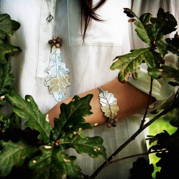 Conjunto Carballo, pulsera y collar en plata artesanal. Joyas siliva.